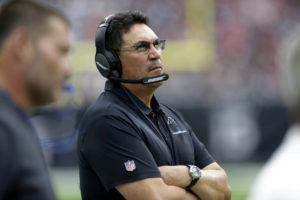 ASSOCIATED PRESS                                 Carolina Panthers head coach Ron Rivera watched, Sept. 29, during the second half of a game against the Houston Texans in Houston. The Washington Redskins have hired Rivera as their new coach today.