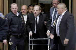 ASSOCIATED PRESS                                 Harvey Weinstein left State Supreme Court in New York, today. The disgraced movie mogul faces allegations of rape and sexual assault.