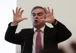 ASSOCIATED PRESS                                 Nissan's former chairman Carlos Ghosn speaks at a press conference in Beirut, Lebanon, today.