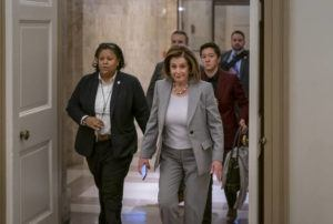 ASSOCIATED PRESS                                 Speaker of the House Nancy Pelosi, D-Calif., arrives at the Capitol in Washington on Friday.