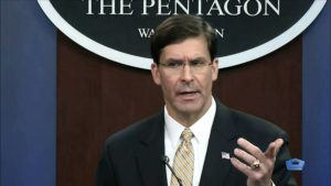 ASSOCIATED PRESS                                 In this image from video, Secretary of Defense Mark Esper talks to the press on Iran and Iraq on Jan. 7 at the Pentagon in Washington.