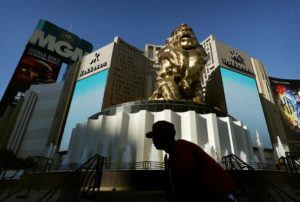 ASSOCIATED PRESS                                 A man rode his bike past the MGM Grand hotel and casino, in Aug. 2015, in Las Vegas. MGM Resorts International is selling the MGM Grand and Mandalay Bay resorts and casinos on the Las Vegas Strip to a joint venture for about $2.5 billion.