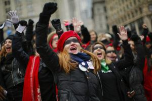 ASSOCIATED PRESS                                 Women take part in a rally before the Women's Women's March today in New York. Hundred showed up in New York City and thousands in Washington, D.C. for the rallies, which aim to harness the political power of women, although crowds were noticeably smaller than in previous years. Marches were scheduled Saturday in more than 180 cities.