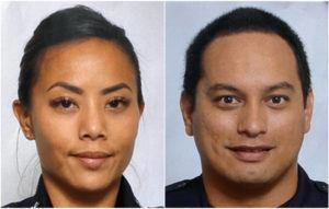 ASSOCIATED PRESS                                 Honolulu police officers Tiffany Enriquez, left, and Kaulike Kalama who were killed Sunday on Hibiscus Drive near Diamond Head.