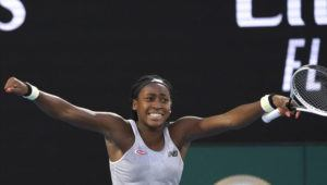 ASSOCIATED PRESS                                 Coco Gauff of the U.S. celebrated after defeating Japan's Naomi Osaka in their third round singles match at the Australian Open tennis championship in Melbourne, Australia, today.