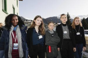 ASSOCIATED PRESS                                 Climate activist Vanessa Nakate, Luisa Neubauer, Greta Thunberg, Isabelle Axelsson and Loukina Tille, from left, arrive for a news conference in Davos, Switzerland, Friday. The 50th annual meeting of the forum took place in Davos from Jan. 21 to Jan. 24, 2020.