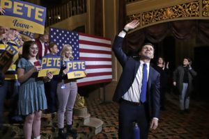 ASSOCIATED PRESS                                 Democratic presidential candidate former South Bend, Ind., Mayor Pete Buttigieg, waves at the conclusion of a town hall meeting at the Orpheum Theatre in Sioux City, Iowa.