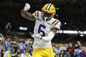 ASSOCIATED PRESS                                 LSU wide receiver Terrace Marshall Jr. celebrates after scoring a touchdown against Clemson during the second half.