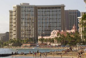 STAR-ADVERTISER / 2015                                 The Sheraton Waikiki and the The Royal Hawaiian, a Luxury Collection Resort, are seen along Waikiki Beach. Hawaii hotels finished 2019 with the nation's top hotel rate and revenue per available room, although occupancy earned a slightly lower ranking as the nation's third best.