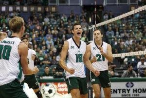 Cindy Ellen Russell / crussell@staradvertiser.com / Jan. 11                                 Hawaii's Rado Parapunov (19) reacted after a block during the second set of last week's match against the Grand Canyon Antelopes. Parapunov led UH in kills in a four-set victory against Lewis on Friday.