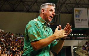 STAR-ADVERTISER / APRIL 2019                                 UH Rainbow Warrior head coach Charlie Wade called timeout during a match against the Long Beach State 49ers at the Walter Pyramid in Long Beach. Wade was named the AVCA 2019 Division I/II Coach of the Year today.