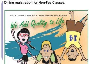 COURTESY HONOLULU PARKS AND RECREATION                                 This screen grab shows the city's registration website for free spring classes.