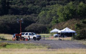 CINDY ELLEN RUSSELL / CRUSSELL@STARADVERTISER.COM                                 The National Transportation Safety Board and the Federal Aviation Administration has begun their investigation near Dillingham Airfield where two men died in a single-engine Cessna Ector 305A on Saturday.