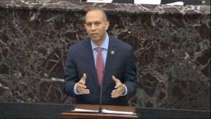 SENATE TELEVISION VIA ASSOCIATED PRESS                                 House impeachment manager Rep. Hakeem Jeffries, D-N.Y., spoke during closing arguments in the impeachment trial against President Donald Trump in the Senate at the U.S. Capitol in Washington, today.