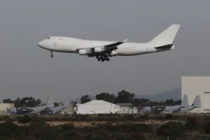 ASSOCIATED PRESS                                 A plane carrying evacuees from the virus zone in China lands at Marine Corps Air Station Miramar today in San Diego. One of two jets carrying Americans fleeing the virus zone in China landed this morning at Miramar after first landing at an Air Force base in Northern California.