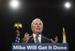 ASSOCIATED PRESS Democratic presidential candidate and former New York City Mayor Michael Bloomberg spoke at a campaign event, Wednesday, in Providence, R.I.