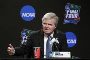 ASSOCIATED PRESS                                 NCAA President Mark Emmert answers questions at a news conference at the Final Four college basketball tournament in Minneapolis in 2019. As Congress considers whether to allow college athletes to receive endorsement money, the NCAA and its allies spent nearly $1 million last year lobbying lawmakers to shape any reforms to the organization's liking.