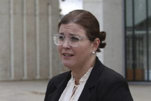 ASSOCIATED PRESS                                 Lawyer Claire Gibbs speaks to reporters outside the High Court in Canberra, Australia, today. Gibbs told that her two clients who identify as indigenous Australians will sue the government for wrongful detention. Australia's highest court has ruled that the government can't deport Aboriginal people even if they are not Australian citizens.