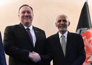 ASSOCIATED PRESS                                 U.S. Secretary of State Mike Pompeo, left, shakes hands with Afghan President Ashraf Ghani, during the 56th Munich Security Conferenc in Munich, Germany, today.