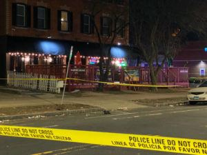 COURTESY WFSB-TV                                 A view of the scene of a shooting at the Majestic Lounge, in Hartford, Connecticut, today. Multiple people were shot at a Connecticut nightclub, leaving one person dead, police said. Preliminary information indicated four others were wounded.