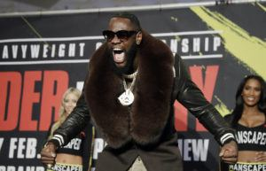 ASSOCIATED PRESS                                 Deontay Wilder arrives at the MGM Grand ahead of his WBC heavyweight championship boxing match against Tyson Fury, of England on Tuesday in Las Vegas.