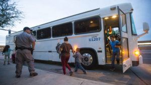 MICHAEL CHOW/THE ARIZONA REPUBLIC VIA AP / 2014                                 Migrants are released from ICE custody at a Greyhound bus station in Phoenix. Greyhound, the nation's largest bus company, says it will stop allowing Border Patrol agents without a warrant to board its buses to conduct routine immigration checks. The company announced the change one week after The Associated Press reported on a leaked Border Patrol memo confirming that agents can't board private buses without the consent of the bus company.