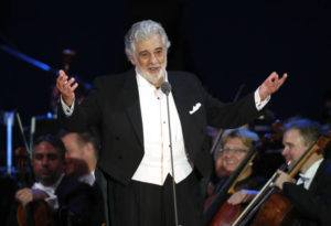 ASSOCIATED PRESS                                 Opera star Placido Domingo salutes spectators at the end of a concert in Szeged, Hungary, in 2019.