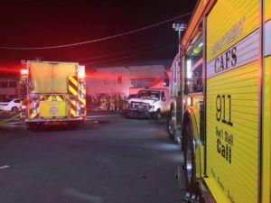 MARK LADAO / MLADAO@STARADVERTISER.COM                                 Firefighters responded to a blaze tonight.
