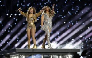 ASSOCIATED PRESS                                 Shakira and Jennifer Lopez perform during halftime of the NFL Super Bowl 54 football.