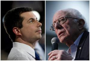 ASSOCIATED PRESS                                 After a daylong delay, partial results from Iowa's Democratic caucuses showed Pete Buttigieg, left, and Bernie Sanders ahead of the pack.