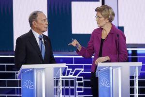 ASSOCIATED PRESS                                 Democratic presidential candidates, former New York City Mayor Mike Bloomberg, left, and Sen. Elizabeth Warren, D-Mass., talk before a Democratic presidential primary debate today in Las Vegas.