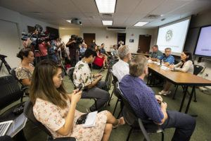 CINDY ELLEN RUSSELL / CRUSSELL@STARADVERTISER.COM                                 The state Department of Health held a news conference this afternoon about the male Japanese tourist, in his 60s, who tested positive for the COVID-19 virus after visiting Hawaii from late January to Feb. 7. Pictured speaking is state Epidemiologist Dr. Sarah Park. Seated with Park are state Health Director Bruce Anderson, left, and Gov. David Ige.