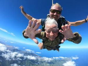 "COURTESY SKYDIVE HAWAII Mililani resident Polito ""Paul"" Olivas did a tandem jump at Skydive Hawaii at Dillingham Airfield on Aug. 29, 2018."