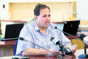 DENNIS ODA / MAY 11, 2017                                 HSTA President Corey Rosenlee is challenging a decision by the Hawaii Department of Education to require teachers to work during the second week of the extended two-week spring break.