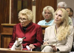 ASSOCIATED PRESS                                 Abigail Kawananakoa, left, sits next to her wife, Veronica Gail Worth Kawananakoa, while the couple's Chihuahua sits on her lap during a court hearing in Honolulu in October. A three-day hearing opened today to determine whether a conservator will be named to handle the financial affairs of Abigail Kawananakoa.