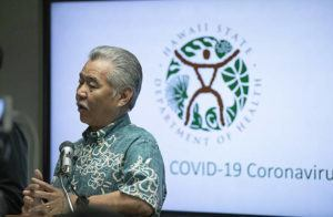 CINDY ELLEN RUSSELL / CRUSSELL@STARADVERTISER.COM Gov. David Ige confirmed the state's first COVID-19 case at a news conference at the Department of Health this afternoon. The Hawaii resident traveled on the Grand Princess cruise ship to Mexico in February, and fell ill after returning to Oahu.