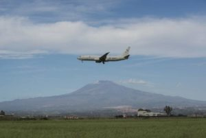 COURTESY U.S. NAVY                                 A P-8A Poseidon Aircraft assigned to Patrol Squadron (VP) 4 comes in for a landing at Naval Air Station Sigonella in February.