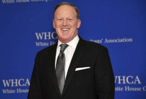 "CHARLES SYKES/INVISION/AP / APRIL 27 Sean Spicer at the 2019 White House Correspondents' Association dinner in Washington. Spicer said he expects his old boss, President Donald Trump, to win re-election, but he doesn't view his new television talk show as a vehicle for helping to accomplish that. Trump's first presidential press secretary launches ""Spicer & Co."" on the conservative cable network Newsmax TV."