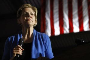 ASSOCIATED PRESS                                 Democratic presidential candidate Sen. Elizabeth Warren, D-Mass., spoke, March 3, during a primary election night rally, at Eastern Market in Detroit.