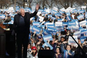 ASSOCIATED PRESS                                 Democratic presidential candidate Sen. Bernie Sanders, I-Vt., waves to supporters after speaking at a campaign rally in Chicago's Grant Park.