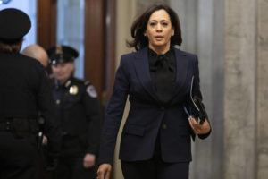 ASSOCIATED PRESS                                 Sen. Kamala Harris, D-Calif., arrives on Capitol Hill in Washington on Jan. 31 for the impeachment trial of President Donald Trump on charges of abuse of power and obstruction of Congress.