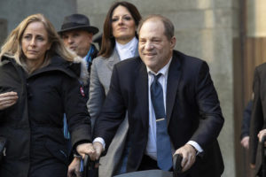 "ASSOCIATED PRESS / Feb. 21                                 Harvey Weinstein leaves the courthouse during jury deliberations in his rape trial in New York last month. With Weinstein facing sentencing this week, his lawyers argued today that the disgraced movie mogul deserves mercy in his New York City rape case because he's already suffered a ""historic"" fall from grace and is dealing with serious health issues."
