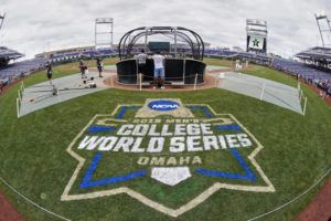 ASSOCIATED PRESS                                 The College World Series logo is partially painted at TD Ameritrade Park in Omaha, Neb., as Vanderbilt players practice ahead of their College World Series game against Louisville in June. The NCAA's decision to canceled winter and spring sports championships means the College World Series will not be held for the first time in its 73-year history.