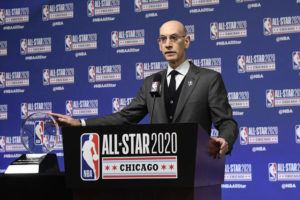 ASSOCIATED PRESS / FEB. 15                                 NBA Commissioner Adam Silver said that the league's hiatus because of the coronavirus pandemic will likely last at least a month, or roughly what would have been the remainder of an uninterrupted regular season.