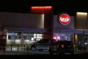 NATHAN PAPES/THE SPRINGFIELD NEWS-LEADER VIA ASSOCIATED PRESS                                 Police responded to the scene of a shooting at a gas station in Springfield, Mo, Sunday. Police Chief Paul Williams said this morning, a Springfield police officer, three citizens and the gunman were killed.