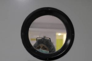 ASSOCIATED PRESS                                 A health worker wearing a face mask to protect from coronavirus looked out of from a window at a nursing home in Madrid, Spain, today. The new coronavirus causes mild or moderate symptoms for most people, but for some, especially older adults and people with existing health problems, it can cause more severe illness or death.