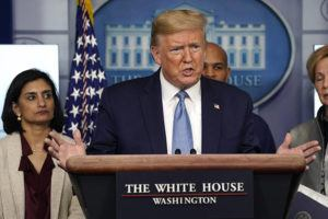 ASSOCIATED PRESS                                 President Donald Trump spoke today during a news briefing with the coronavirus task force, in the Brady press briefing room at the White House in Washington.