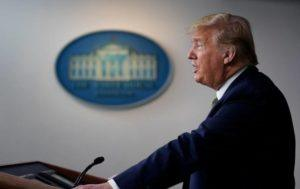 ASSOCIATED PRESS                                 President Donald Trump spoke during a press briefing with the coronavirus task force, at the White House, today, in Washington.