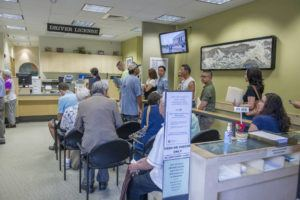CRAIG T. KOJIMA / July 13, 2018                                 Starting Monday, the city will renew driver's licenses and issue state identification cards by appointments only, and walk-in applications will not be processed. Shown here, residents wait to renew their driver's licenses at the Hawaii Kai Satellite City Hall in 2018.