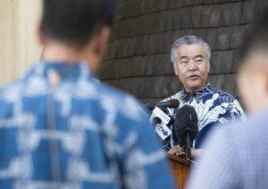 CINDY ELLEN RUSSELL / CRUSSELL@STARADVERTISER.COM Gov. David Ige mandated a 14-day quarantine for visitors and returning residents at today's news conference.